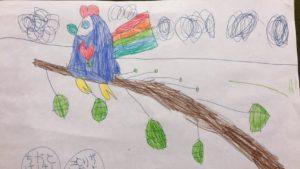 5歳の女の子が描いた鳥の絵をぬいぐるみに!